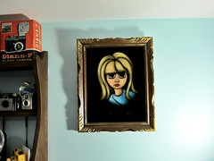 black velvet girl (buttercup caren) Tags: art vintage painting framed blonde blackvelvet bigeyedgirl thevintageapartment