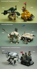 awfulworld combatants (Lemon_Boy) Tags: game army lego military mecha tanks