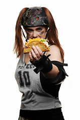 Derby Girl with a Taco (Studio d'Xavier) Tags: portrait rollerderby perfect10 derbygirls strobist derbygirlwithataco