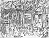 UNCLE ART'S CHICKEN FARM, DENVER 1950 (roberthuffstutter) Tags: art beach japan midwest expressionism impressionism americana venicebeach beatniks watercolors sketches stories unclejim penandink hotoffthepress chickenyard huffstutter roberthuffstutter huffstuttersart robertlhuffstutter grandmotherhawthorne robertsgallery originalsavailable assortedmixedmedium bobhuffstutter artandorphotosbyhuffstutter