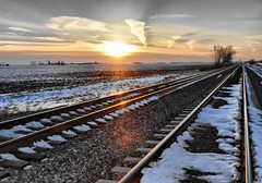 After the Train (Theresa*) Tags: sunset snow whatevertheweather illinois tracks trains rails skyclouds sunrisesandsunsets maplepark flickrnature beautifulcapture natureandlandscapes trainphotography theillinoisdirectory nikond7000