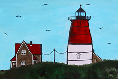 Cape Cod Highland Lighthouse (My World Of Creations) Tags: blue light red summer sky plants usa seagulls lighthouse white house plant colour green art boston illustration night america pen ink painting ma design chalk rocks paint artist acrylic day designer drawing massachusetts united north highland national cape states colourful draw cod truro seashore