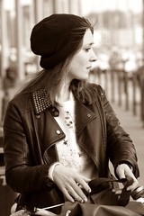 How to look good in sepia (raggi di sole) Tags: street england hat bicycle sepia profile streetphotography lass jacket ipswich neptunemarina neptunequay 113picturesin2013 113in2013 30afaceinprofile