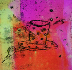 (Jo Sanderson-Mann) Tags: pink orange cup yellow print spoon printing cerise saucer
