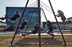 The Swings (JasonCameron) Tags: park sky cute girl childhood playground children fun march utah purple jane swing lensflare clone daybreak southjordan sodarow