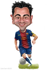 xavi (Carlos Castro Prez) Tags: barcelona color illustration photoshop ball painting football paint drawing soccer player caricature futbol xavi ilustracion carloscastro xavihernandez barafcbarcelona