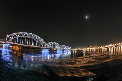 riga - capital of baltic states (Martin Enigk) Tags: bridge light water night stars licht wasser nacht baltic latvia brcke farbe riga sterne lettland baltikum