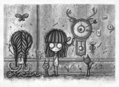 Sobre tus miedos... (Anita Mejia) Tags: white black thanks illustration pen ink mexico sketch blog key gracias traditionalart doodle nightmare pesadilla ilustracion facebook fanpage anitamejia chcolatita