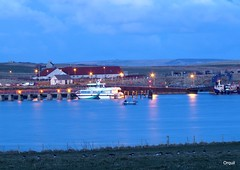 The Flotta Lass At Houton Pier (orquil) Tags: uk longexposure lights evening bay march scotland pier orkney dusk sparkle catamaran shimmer talisman houton workboat scapaflow orcades flottalass houtonbaylodge