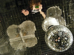 DSCF3930 (srhbth) Tags: city newyorkcity urban newyork reflection me self tile disco bathroom mirror restroom unusual mirrorball discoball donutplant