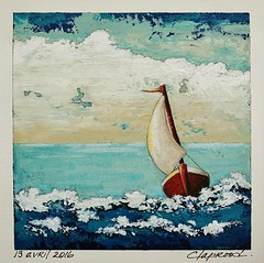 13 avril 2016 - April 13, 2016 (marieclaprood) Tags: nautical sailboat boat art painting originalpainting marieclaprood claprood finearts artist seascape seascene sea ocean blue illustration acrylic acrylicpaiting dailypainting april canvas outdoors