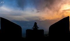 Sunset Yoga (Yogendra174) Tags: yoga yogapose padmasan sunset panhala fort stoneseat sky clouds nirvana peace peaceofmind shanti    silhouette