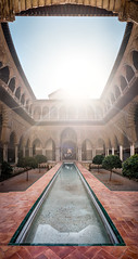 Alcazaba Sevilla (Piyush Bedi) Tags: panorama architecture sevilla spain europe arch fuji pano palace panoramic seville moorish fujifilm alcazaba sunstar alczar xt1