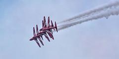 arrows lose formation (Brian Wadie Photographer) Tags: 21816 extremestunt spitfiremk2 sunday beachassault blades mitchellbomber redarrowa redtigersfrefall sallyb typhoon