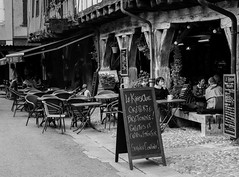 Le Kiosque (pipnash) Tags: cafe mono black white noir blanc people coffee signs france french relax chair chairs lady woman
