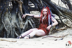 _MG_9697 (Deadly Darling DP) Tags: beach sand nature outdoors dreadlocks gothic goth woman chick tattoos makeup log driftwood tree roots