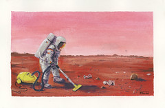 Curiosity afterparty (Daniel Spacek) Tags: gouache dailypainting astronaut mars lux cleaning
