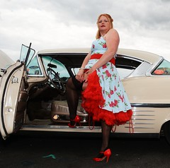 Ange L'Que_8825 (Fast an' Bulbous) Tags: car vehicle american classic oldtimer girl woman milf mature dress stockings nylons high heels stilettos sexy chick babe nikon d7100 gimp santa pod england