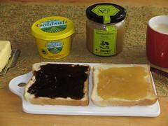 Toast mit Grafschafter Goldsaft bzw. Sommerblten-Honig von der Imkerei Hanking (multipel_bleiben) Tags: essen frhstck ss