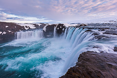 Close up powerful godafoss falls in sunet. (Kanonsky) Tags: attraction beautiful cascade cliff close cloud cloudy cold europe famous flowing godafoss iceland landmark landscape nature outdoors peninsula powerful river sky spring stream sunset waterfall winter