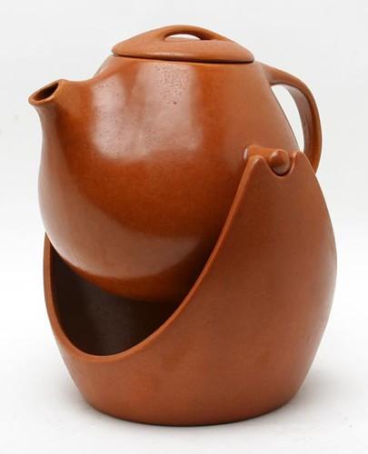 Rare Roseville Raymor Autumn Brown Swivel Coffee Pot & Stand ($280.00)