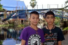 boys in front of bridge (the foreign photographer - ) Tags: sep112016nikon two boys blue bridge khlong thanon portraits bangkhen bangkok thailand nikon d3200