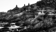 Temple (Jane Satorova) Tags: travel blackandwhite sea temple busan korea mahayana buddhism  coast shore