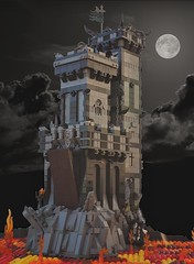 Grimhold Castle (W. Navarre) Tags: lego grimhold castle black dark moon shot angle lava magma fire minifig minifigure