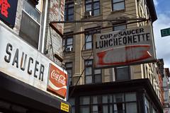 DSC_0030 v2 (collations) Tags: newyork newyorkcity nyc lowereastside les eldridgestreet canalstreet cupsaucer signs vintage signage cocacola fishtail
