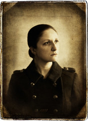 Military Sarah 1932 ~ I (Sair Jane) Tags: old portrait selfportrait history girl face sepia female 1932 canon vintage army 50mm 1930s war military coat textures canon350d torn past 52 battered militarycoat femaleportrait 52weeks niftyfifty militaryportrait