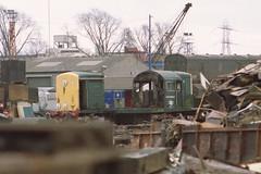 19910223 011 Vic Berrys, Leicester. ADB968000 Train Heating Unit. Former BR Class 15 D8243 (15038) Tags: br diesel leicester trains locomotive railways britishrail departmental class15 d8243 vicberry adb968000