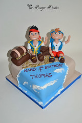 Jake and the neverland Pirates cake (The Sugar Studio ni) Tags: birthday party tree boys island gold treasure desert handmade chest 4th disney palm pirate captain figure hook edible izzy gumpaste sugarpaste doubloons thesugarstudio