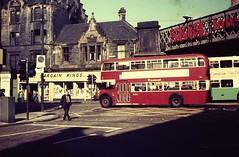 GLASGOW July 1976 pic07 (streamer020nl) Tags: uk bridge bus scotland glasgow central gb 1000 1976 doubledecker railwaybridge saltmarket bristollodekka standrewsst centralsmt bargainkings centralsmtbus