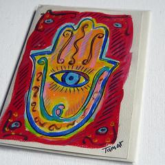 Hamsa Hand (Eye) - Hand Painted Card (TamarHammer) Tags: red eye art handpainted judaism judaica recycledpaper greetingcards jewishholidays hamsahand judaismsymbols