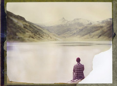 Over The Lake To The Mountains (Bastiank80) Tags: camera lake snow mountains color film nature water field analog polaroid view over large human instant 4x5 sheet format expired tops 79 summits wista tappenkarsee