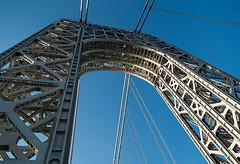The Silver Arch (Michael Crosio) Tags: nyc newyorkcity bridge sky ny newyork tower newjersey arch steel nj bluesky gwb georgewashingtonbridge steelwork bergencounty westtower steelarch fortleenj 07024 silverarch grayarch