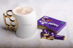 (Fajer Alajmi) Tags: white cup coffee gold milk purple chocolate violet cadbury mug dairy cocoa