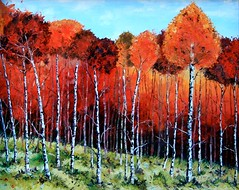 colorful-life (Lisa Elley) Tags: trees newzealand art forest landscape photography landscapes artwork modernart traditional birch palette paletteknifepainting lisaelley