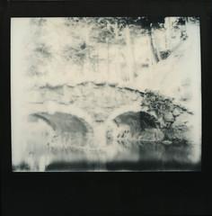 Stow Lake Bridge In Winter (H Polley) Tags: sanfrancisco goldengatepark bridge winter cold water polaroid spectra stowlake impossible blackframe artlibre silvershade ╠artlibrefreeartartelibrefreiekunst impossibleproject pz600