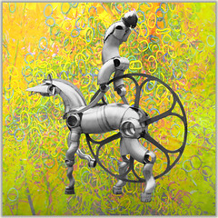 Horsepower (Tedje51 - mostly off (very busy)) Tags: horse statue metal silver grey robot rings challenge xanten gearwheel