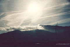 Wind Turbines (JustForSneaks Ent.) Tags: sky mountains clouds desert windturbine palmdesert