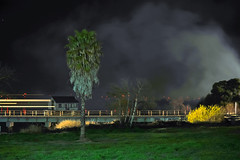 cooling off period (pbo31) Tags: california longexposure panorama black color northerncalifornia night train dark fire lowlight nikon explosion large panoramic amtrak bayarea eastbay february antioch stitched capitolcorridor lightstream contracostacounty 2013 d700 february13th fultonshipyards