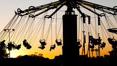 Let the Night Begin (Thomas Hawk) Tags: california sunset usa silhouette unitedstates 10 statefair unitedstatesofamerica fair fav20 sacramento fav30 sacramentocounty californiastatefair fav10 chairoplanes fav25 swingcarousel fav40 superfave californiaexpositionstatefair