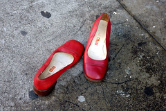 RED SHOE DIARY (Lulu Vision) Tags: sf street city red urban lost shoes sidewalk foundonstreet abandonedshoes miumiushoes