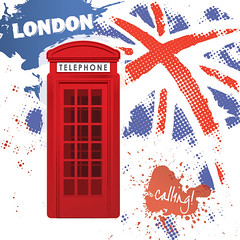 London Calling (DryIcons) Tags: uk red england london cabin background telephone calling vector