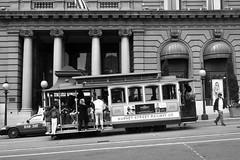 Tram to Market Street, Union Square, San Francisco (www.adamandersson.se) Tags: sanfrancisco california blackandwhite bw usa train square hotel market taxi tram railway cap marketstreet unionsquare kalifornien hotell