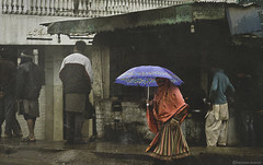 Kashmir diaries (Ebtesam Ahmed) Tags: road street pakistan red cold west film girl rain shop umbrella vintage season dress random islam poor culture mosque rainy covered pakistani kashmir islamic