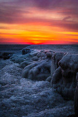awakening (olsonj) Tags: ice water wisconsin dawn lakemichigan shore kenosha