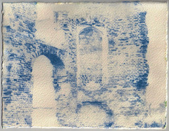 Hand Printed Cyanotype (Rebecca Sharplin Hughes) Tags: old uk longexposure blue winter light england sky sun white colour nature water architecture darkroom work project dark painting paper outside ruins waiting long exposure university pretty experimental photographer natural rustic experiment lifestyle developer hour dreamy uni colourful grainy everyday southampton past desolate chemicals processed printed destroyed cyanotype basingstoke dated acetate handprocessed handprinted
