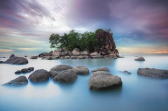 The Colours of Penang (TheFella) Tags: ocean longexposure travel trees sunset sea sky blackandwhite bw seascape slr water monochrome rock clouds digital photoshop canon landscape eos bay photo rocks asia southeastasia purple dynamic cloudy smooth photograph le malaysia processing 5d penang dslr hdr highdynamicrange mkii markii penangisland postprocessing travelphotography photomatix batuferringhi malaypeninsula thefella 5dmarkii conormacneill thefellaphotography